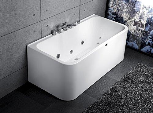 Exclusive Whirlpool Badewanne an 3 Seiten geschlossen Acryl mit Armatur und Massage 160cm 170cm (Massage 170)